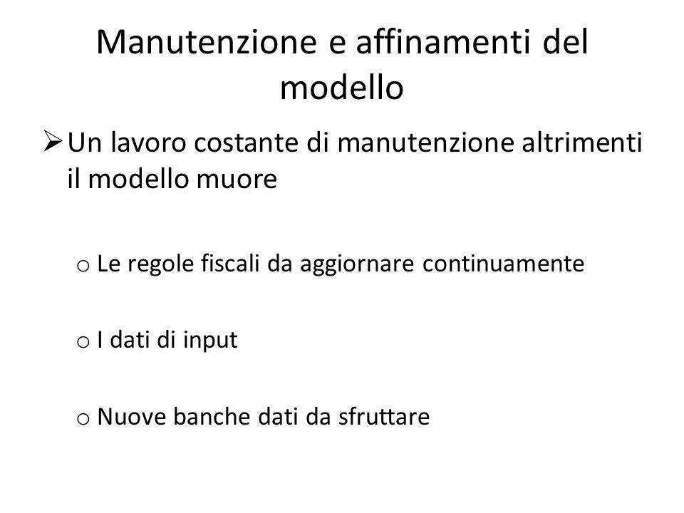 Manutenzione e affinamenti del modello Un lavoro costante di manutenzione altrimenti il modello muore o Le regole fiscali da aggiornare continuamente