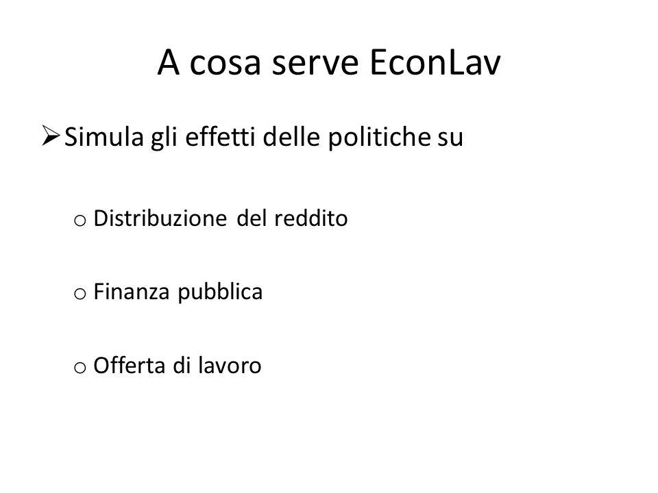 A cosa serve EconLav Simula gli effetti delle politiche su o Distribuzione del reddito o Finanza pubblica o Offerta di lavoro