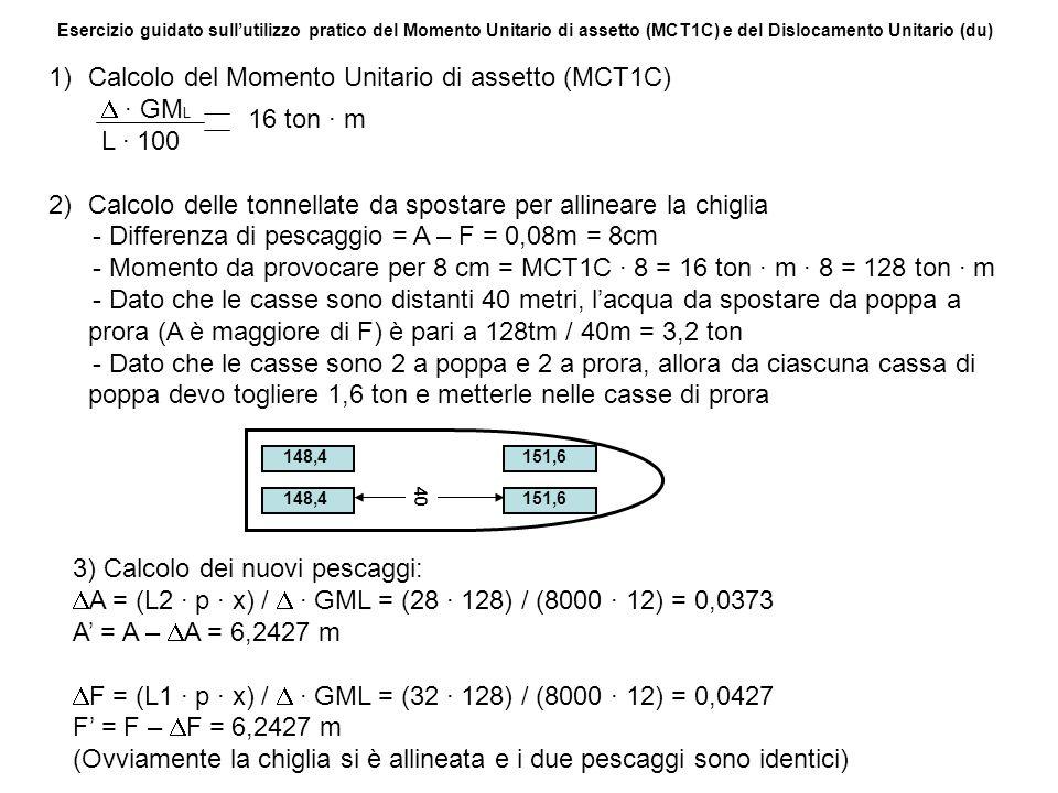 Esercizio guidato sullutilizzo pratico del Momento Unitario di assetto (MCT1C) e del Dislocamento Unitario (du) 1)Calcolo del Momento Unitario di asse