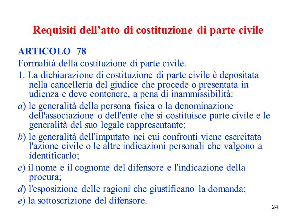 24 Requisiti dellatto di costituzione di parte civile ARTICOLO 78 Formalità della costituzione di parte civile.