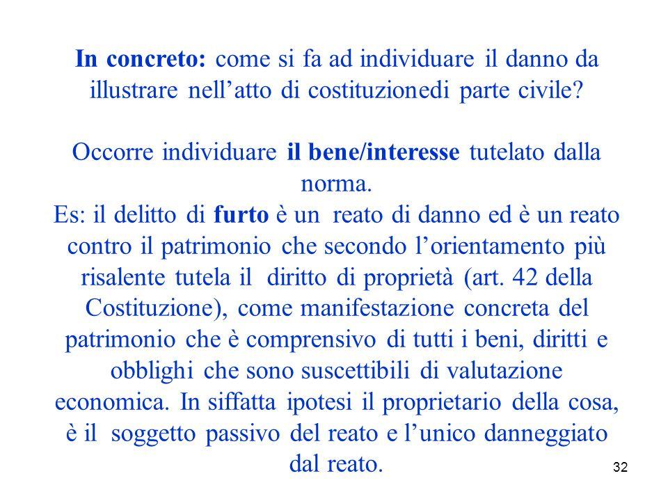 32 In concreto: come si fa ad individuare il danno da illustrare nellatto di costituzionedi parte civile.