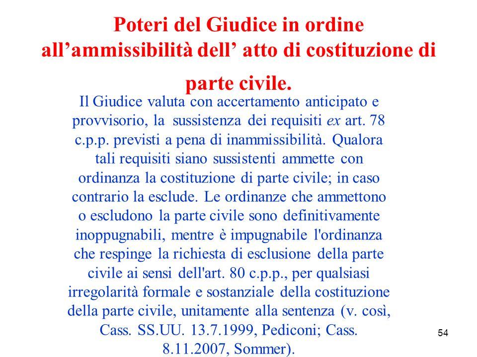 54 Poteri del Giudice in ordine allammissibilità dell atto di costituzione di parte civile.