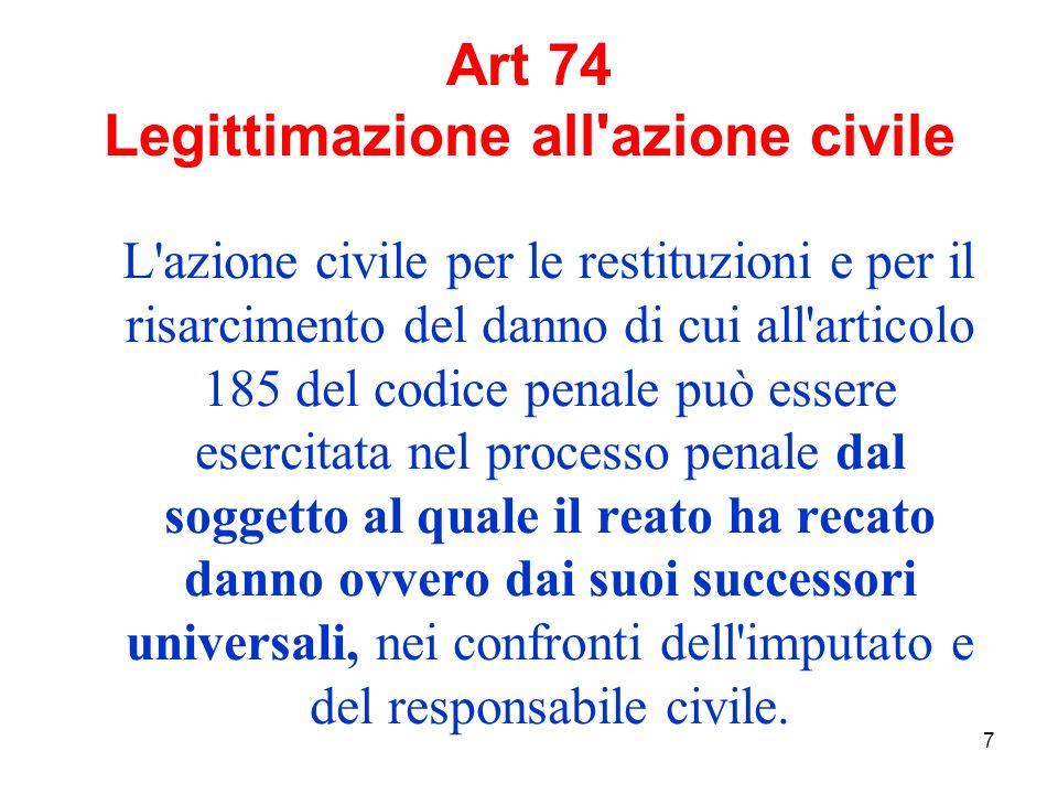 7 Art 74 Legittimazione all azione civile L azione civile per le restituzioni e per il risarcimento del danno di cui all articolo 185 del codice penale può essere esercitata nel processo penale dal soggetto al quale il reato ha recato danno ovvero dai suoi successori universali, nei confronti dell imputato e del responsabile civile.