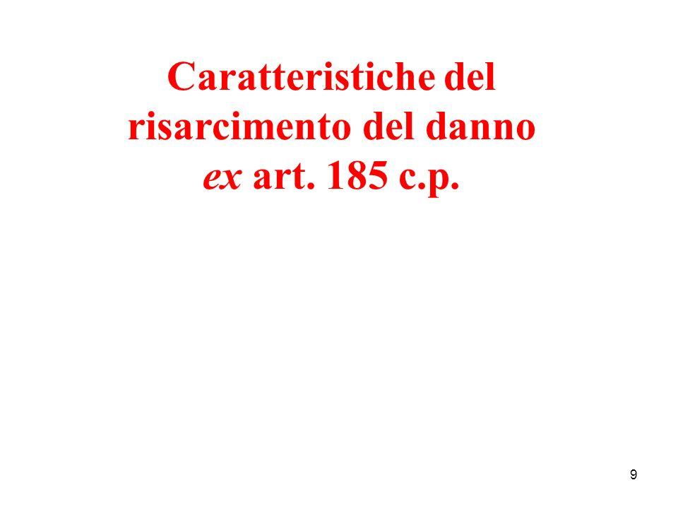 9 Caratteristiche del risarcimento del danno ex art. 185 c.p.