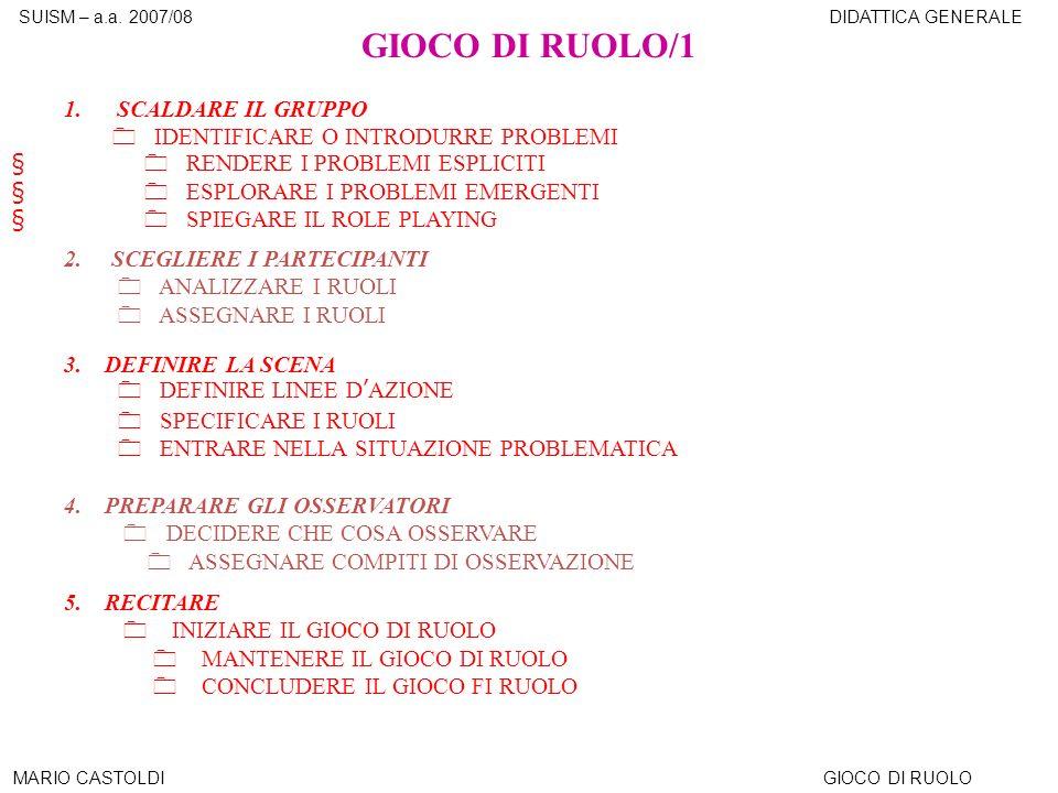 SUISM – a.a.2007/08DIDATTICA GENERALE MARIO CASTOLDIGIOCO DI RUOLO GIOCO DI RUOLO/1 1.