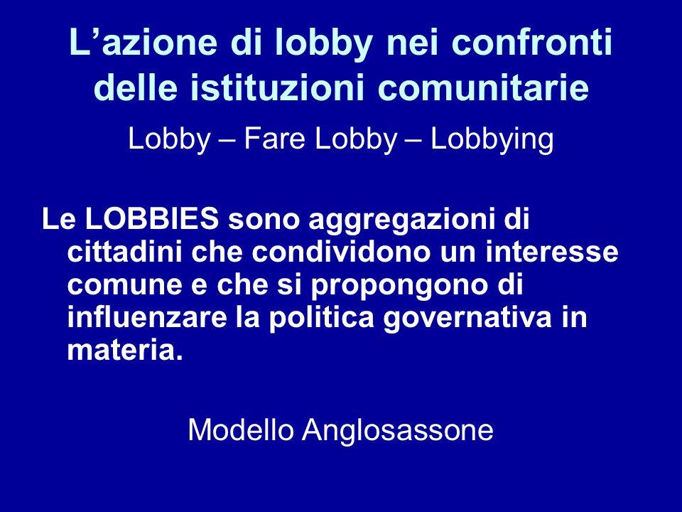 Lazione di lobby nei confronti delle istituzioni comunitarie Lobby – Fare Lobby – Lobbying Le LOBBIES sono aggregazioni di cittadini che condividono u