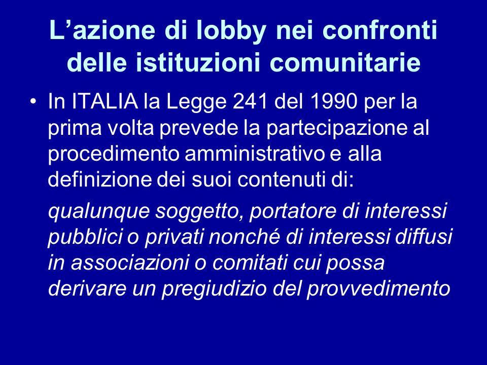 Lazione di lobby nei confronti delle istituzioni comunitarie In ITALIA la Legge 241 del 1990 per la prima volta prevede la partecipazione al procedime