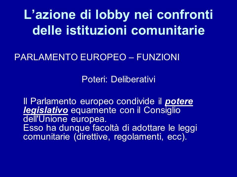 Lazione di lobby nei confronti delle istituzioni comunitarie PARLAMENTO EUROPEO – FUNZIONI Poteri: Deliberativi Il Parlamento europeo condivide il pot
