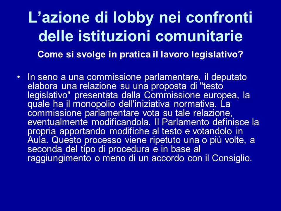 Lazione di lobby nei confronti delle istituzioni comunitarie Oggetto della Lobbying Commissione – Funzionari (Commissari) Consiglio – Rappresentanze Permanenti Parlamento - Parlamentari Organi Consultivi Opinion leader a Bruxelles