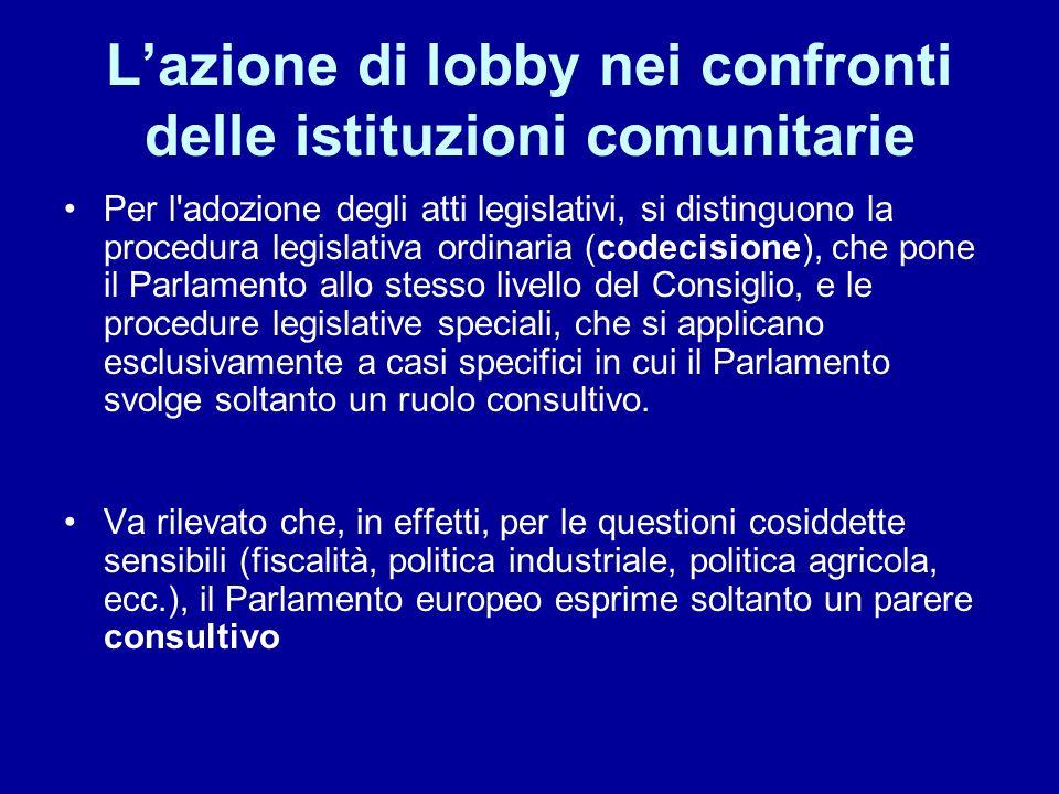 Lazione di lobby nei confronti delle istituzioni comunitarie Per l'adozione degli atti legislativi, si distinguono la procedura legislativa ordinaria
