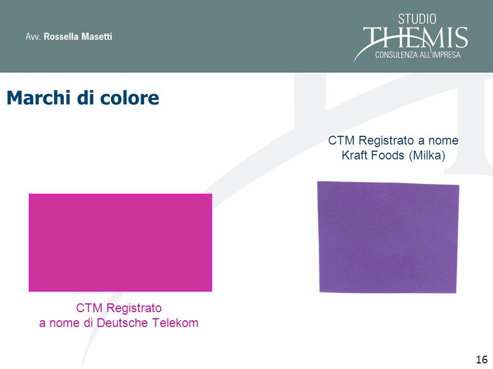 CTM Registrato a nome di Deutsche Telekom 16 CTM Registrato a nome Kraft Foods (Milka) Marchi di colore