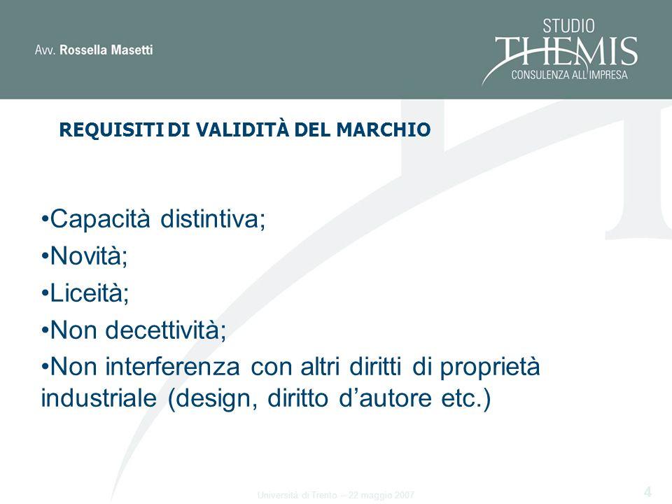 4 Capacità distintiva; Novità; Liceità; Non decettività; Non interferenza con altri diritti di proprietà industriale (design, diritto dautore etc.) Università di Trento – 22 maggio 2007 REQUISITI DI VALIDITÀ DEL MARCHIO