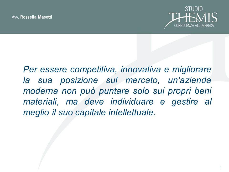 Per essere competitiva, innovativa e migliorare la sua posizione sul mercato, unazienda moderna non può puntare solo sui propri beni materiali, ma deve individuare e gestire al meglio il suo capitale intellettuale.