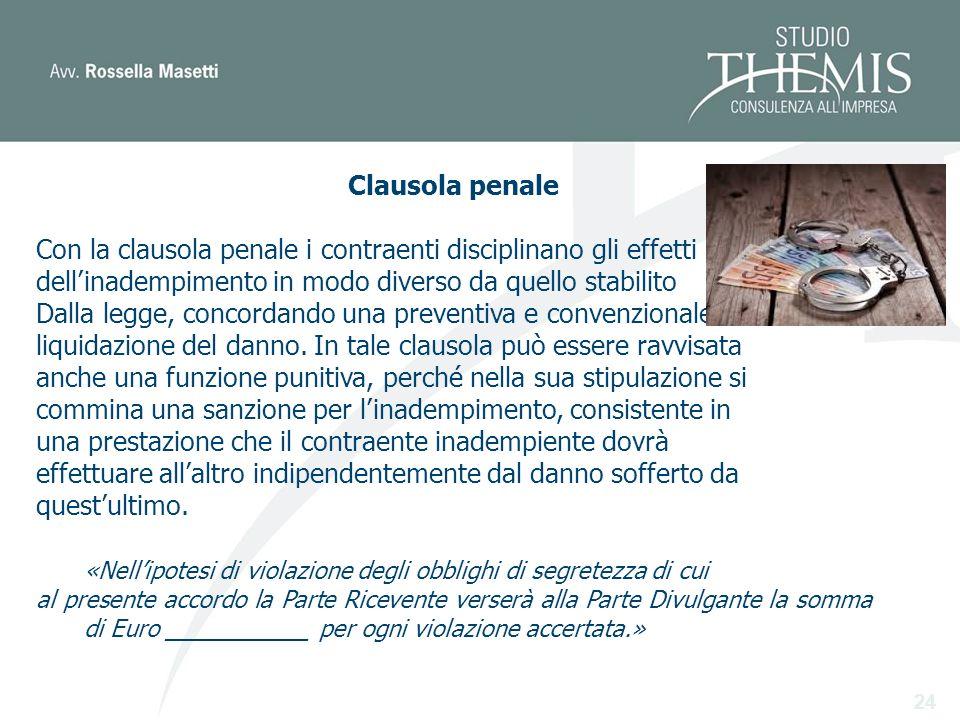 24 Clausola penale Con la clausola penale i contraenti disciplinano gli effetti dellinadempimento in modo diverso da quello stabilito Dalla legge, concordando una preventiva e convenzionale liquidazione del danno.