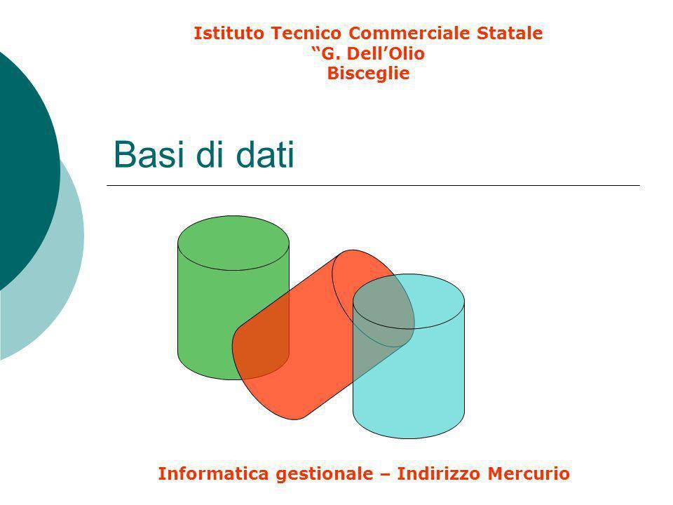 Basi di dati Istituto Tecnico Commerciale Statale G. DellOlio Bisceglie Informatica gestionale – Indirizzo Mercurio