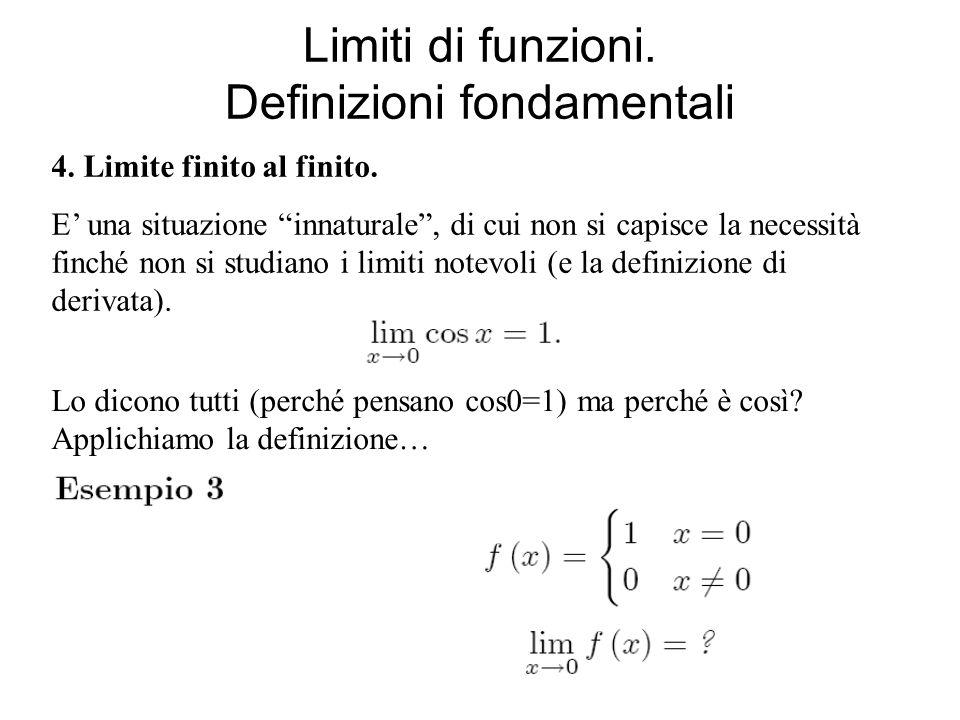 Limiti di funzioni. Definizioni fondamentali 4. Limite finito al finito. E una situazione innaturale, di cui non si capisce la necessità finché non si
