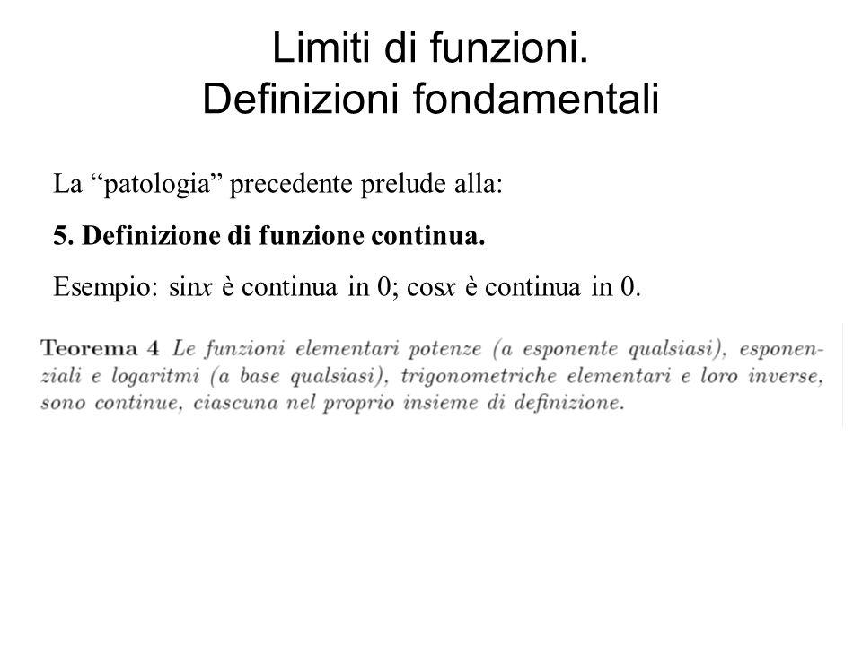 Limiti di funzioni. Definizioni fondamentali La patologia precedente prelude alla: 5. Definizione di funzione continua. Esempio: sinx è continua in 0;