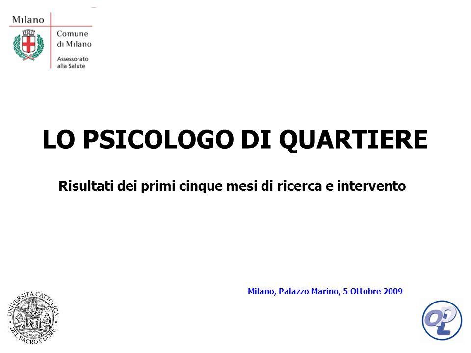 LO PSICOLOGO DI QUARTIERE Risultati dei primi cinque mesi di ricerca e intervento Milano, Palazzo Marino, 5 Ottobre 2009