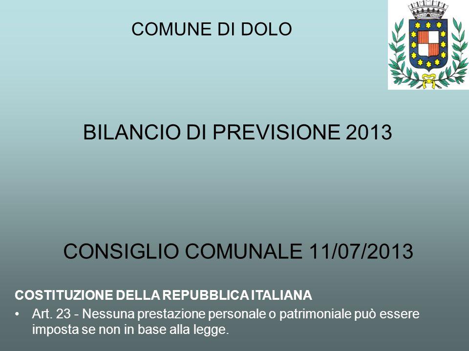 BILANCIO DI PREVISIONE 2013 CONSIGLIO COMUNALE 11/07/2013 COMUNE DI DOLO COSTITUZIONE DELLA REPUBBLICA ITALIANA Art. 23 - Nessuna prestazione personal