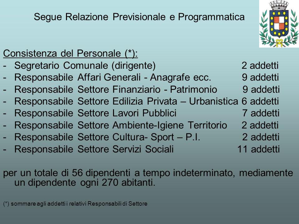 Segue Relazione Previsionale e Programmatica Consistenza del Personale (*): -Segretario Comunale (dirigente) 2 addetti -Responsabile Affari Generali -