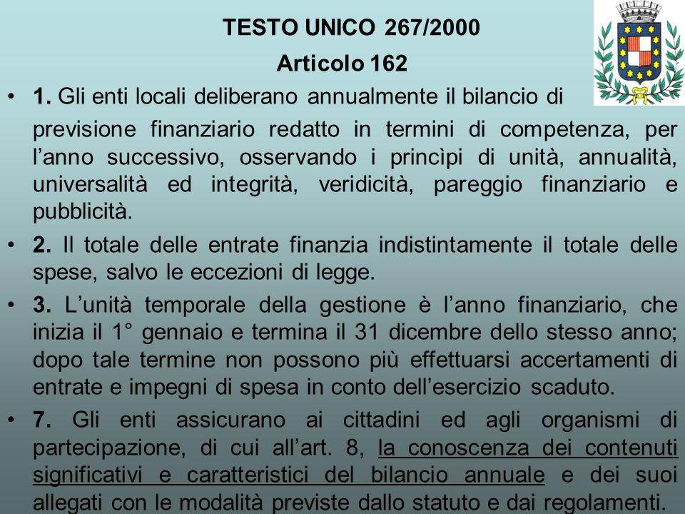 TESTO UNICO 267/2000 Articolo 162 1. Gli enti locali deliberano annualmente il bilancio di previsione finanziario redatto in termini di competenza, pe