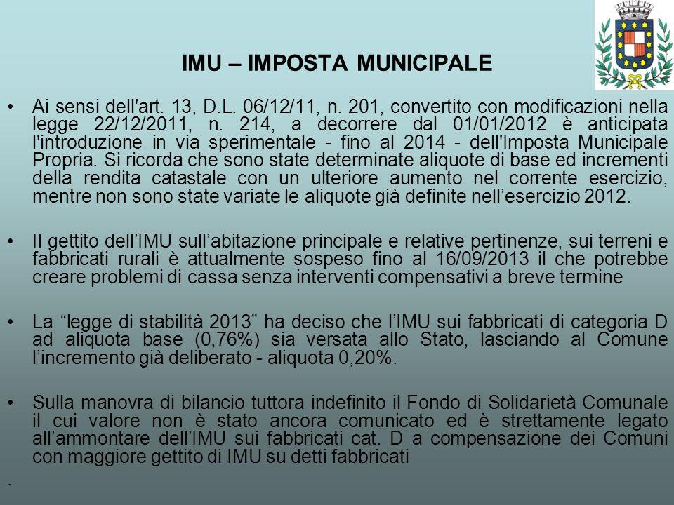 IMU – IMPOSTA MUNICIPALE Ai sensi dell'art. 13, D.L. 06/12/11, n. 201, convertito con modificazioni nella legge 22/12/2011, n. 214, a decorrere dal 01