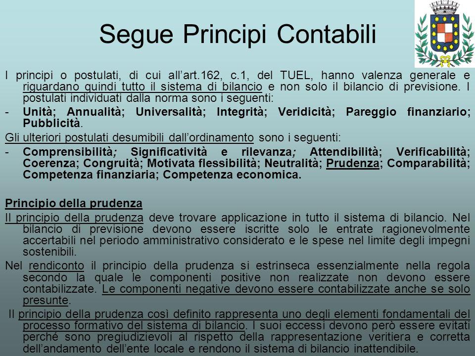 Segue Principi Contabili I principi o postulati, di cui allart.162, c.1, del TUEL, hanno valenza generale e riguardano quindi tutto il sistema di bila