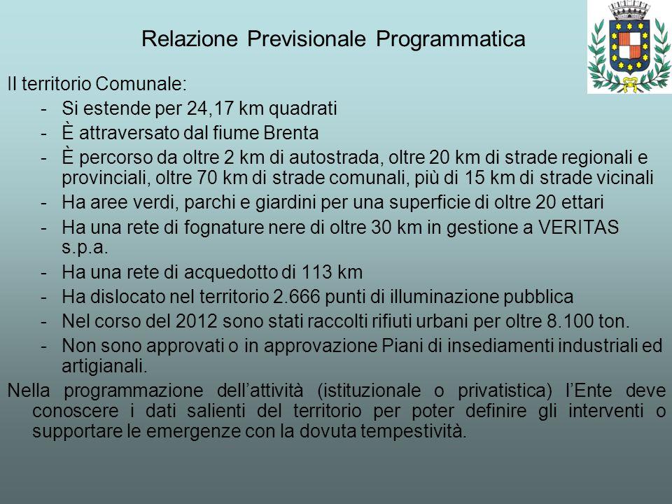 Relazione Previsionale Programmatica Il territorio Comunale: -Si estende per 24,17 km quadrati -È attraversato dal fiume Brenta -È percorso da oltre 2