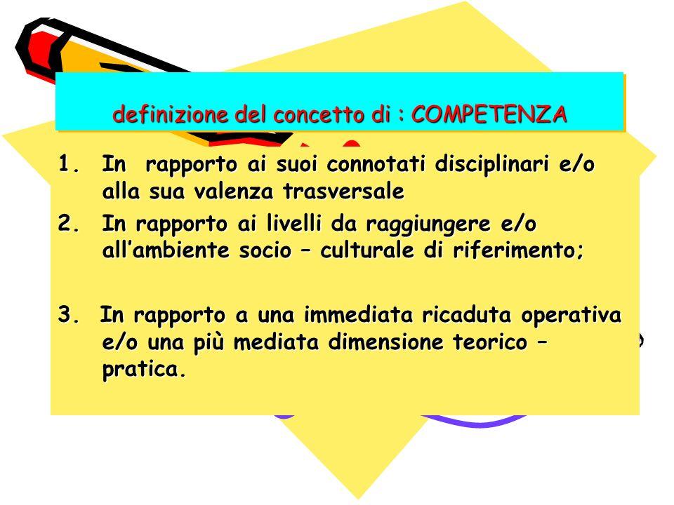 definizione del concetto di : COMPETENZA 1.In rapporto ai suoi connotati disciplinari e/o alla sua valenza trasversale 2.In rapporto ai livelli da rag