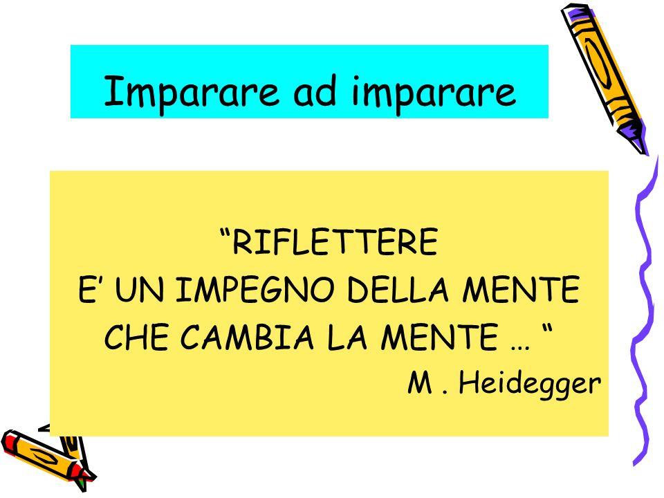 Imparare ad imparare RIFLETTERE E UN IMPEGNO DELLA MENTE CHE CAMBIA LA MENTE … M. Heidegger