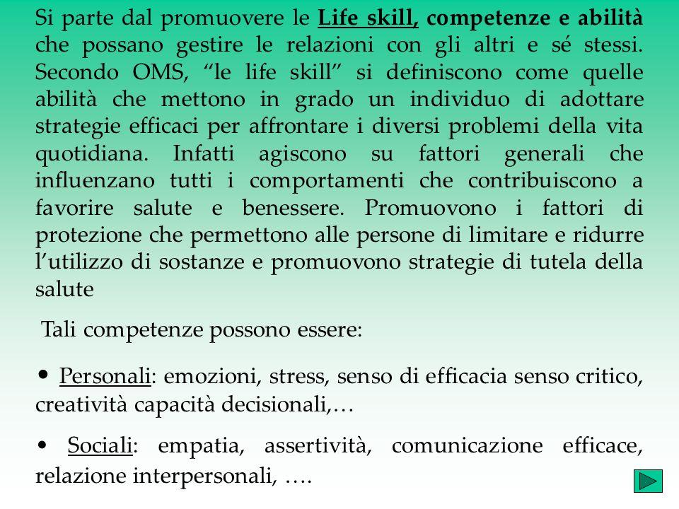 Si parte dal promuovere le Life skill, competenze e abilità che possano gestire le relazioni con gli altri e sé stessi.