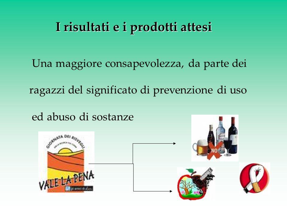 I risultati e i prodotti attesi Una maggiore consapevolezza, da parte dei ragazzi del significato di prevenzione di uso ed abuso di sostanze