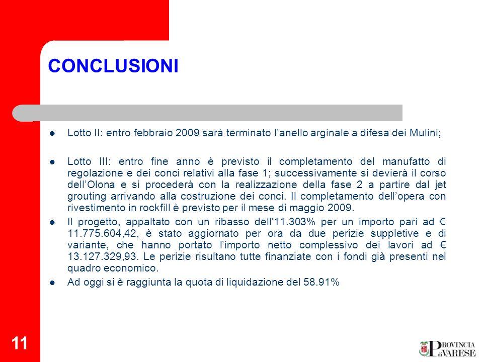 11 CONCLUSIONI Lotto II: entro febbraio 2009 sarà terminato lanello arginale a difesa dei Mulini; Lotto III: entro fine anno è previsto il completamen
