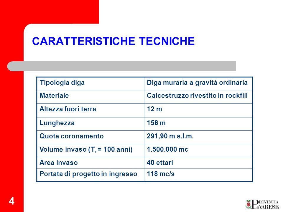 4 CARATTERISTICHE TECNICHE Tipologia digaDiga muraria a gravità ordinaria MaterialeCalcestruzzo rivestito in rockfill Altezza fuori terra12 m Lunghezz