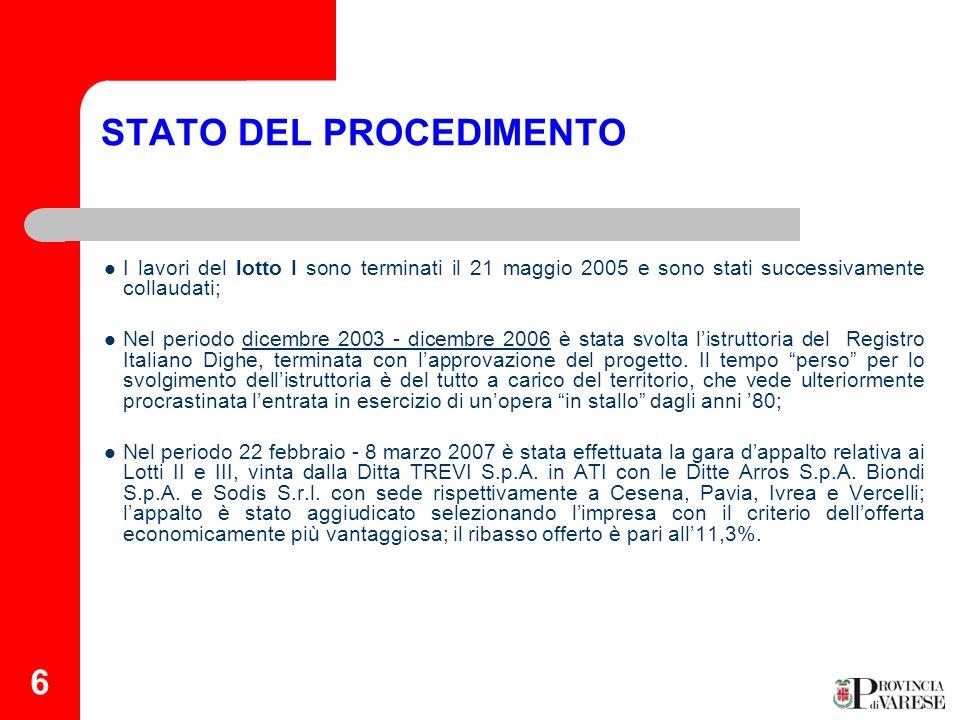 6 STATO DEL PROCEDIMENTO I lavori del lotto I sono terminati il 21 maggio 2005 e sono stati successivamente collaudati; Nel periodo dicembre 2003 - di
