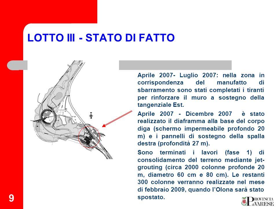 9 LOTTO III - STATO DI FATTO Tiranti in spalla sinistra Aprile 2007- Luglio 2007: nella zona in corrispondenza del manufatto di sbarramento sono stati