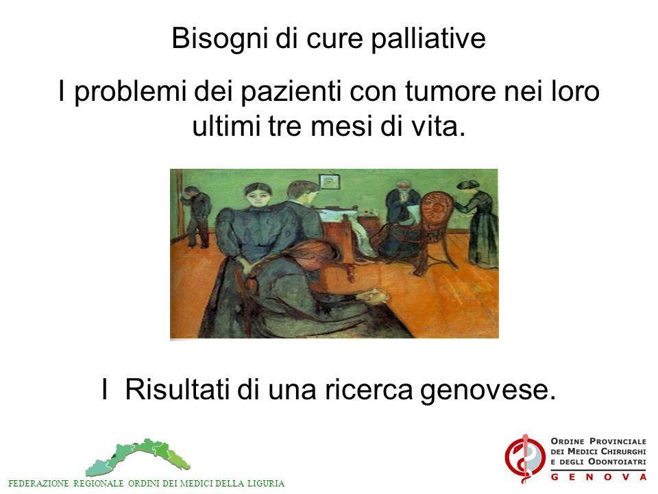 FEDERAZIONE REGIONALE ORDINI DEI MEDICI DELLA LIGURIA Bisogni di cure palliative I problemi dei pazienti con tumore nei loro ultimi tre mesi di vita.