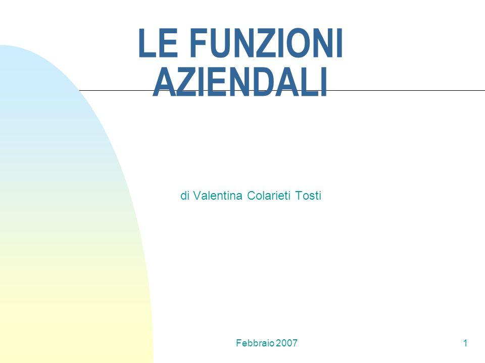 Febbraio 20071 LE FUNZIONI AZIENDALI di Valentina Colarieti Tosti