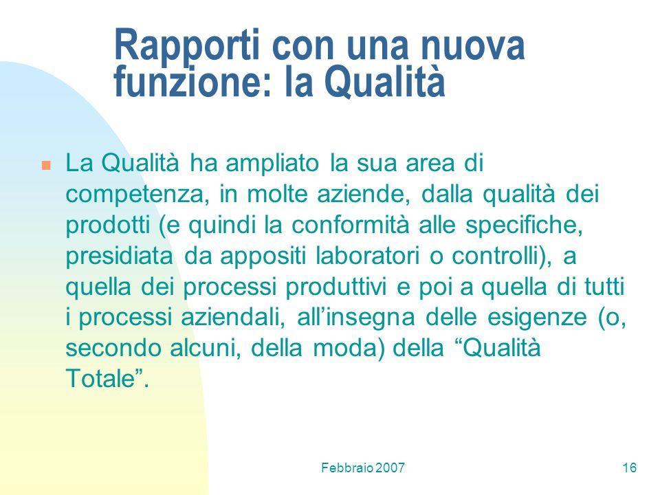 Febbraio 200716 Rapporti con una nuova funzione: la Qualità La Qualità ha ampliato la sua area di competenza, in molte aziende, dalla qualità dei prod