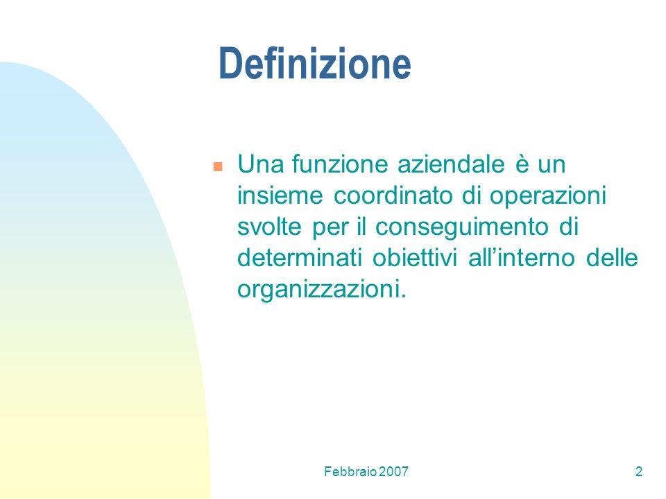 Febbraio 20072 Definizione Una funzione aziendale è un insieme coordinato di operazioni svolte per il conseguimento di determinati obiettivi allintern