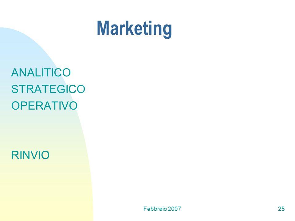 Febbraio 200725 Marketing ANALITICO STRATEGICO OPERATIVO RINVIO