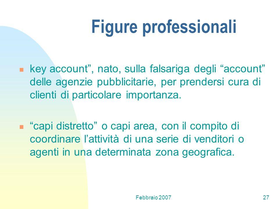 Febbraio 200727 Figure professionali key account, nato, sulla falsariga degli account delle agenzie pubblicitarie, per prendersi cura di clienti di pa