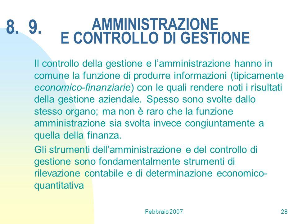Febbraio 200728 AMMINISTRAZIONE E CONTROLLO DI GESTIONE Il controllo della gestione e lamministrazione hanno in comune la funzione di produrre informa