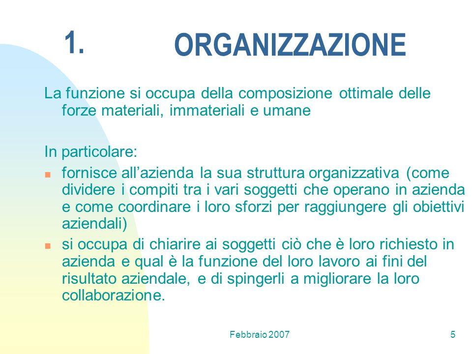 Febbraio 20075 ORGANIZZAZIONE La funzione si occupa della composizione ottimale delle forze materiali, immateriali e umane In particolare: fornisce al