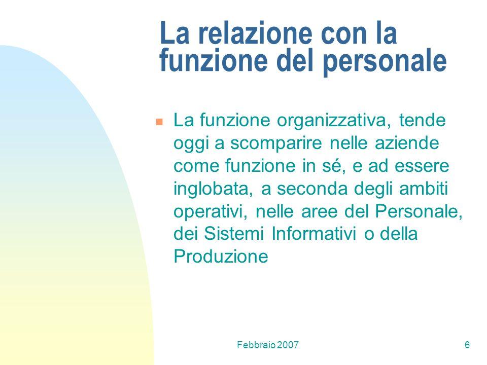 Febbraio 20076 La relazione con la funzione del personale La funzione organizzativa, tende oggi a scomparire nelle aziende come funzione in sé, e ad e