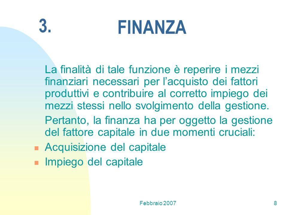 Febbraio 20078 FINANZA La finalità di tale funzione è reperire i mezzi finanziari necessari per lacquisto dei fattori produttivi e contribuire al corr