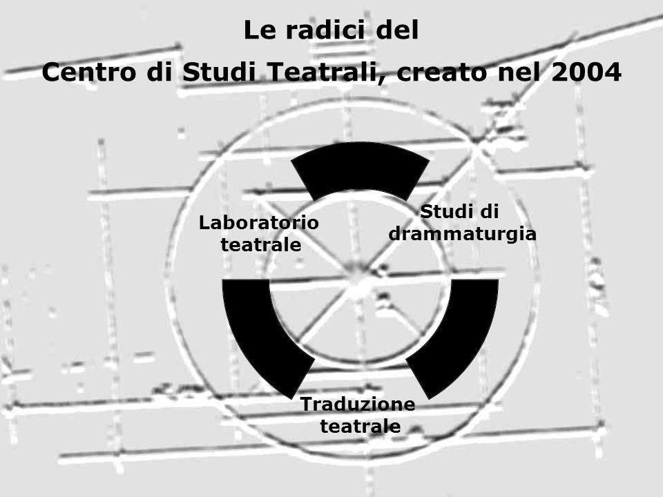 Le radici del Centro di Studi Teatrali, creato nel 2004 Studi di drammaturgia Traduzione teatrale Laboratorio teatrale