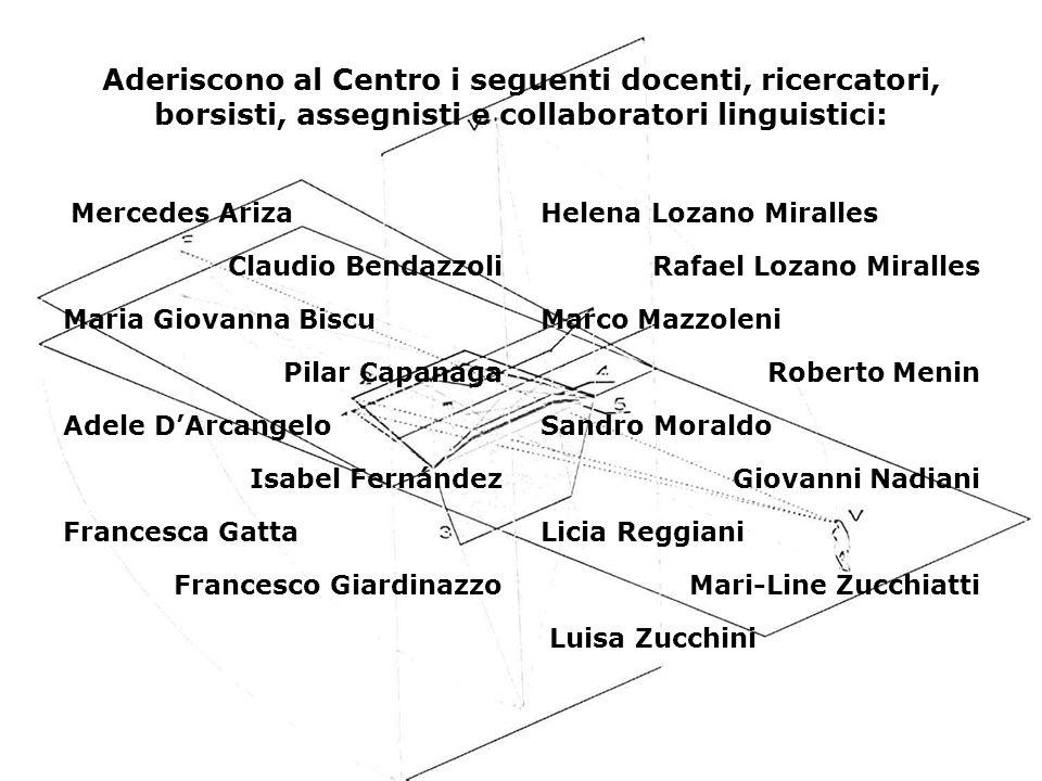 Aderiscono al Centro i seguenti docenti, ricercatori, borsisti, assegnisti e collaboratori linguistici: Mercedes Ariza Claudio Bendazzoli Maria Giovan