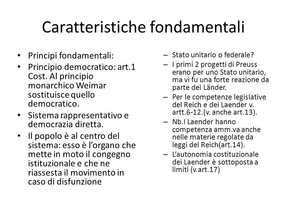 Caratteristiche fondamentali Principi fondamentali: Principio democratico: art.1 Cost.