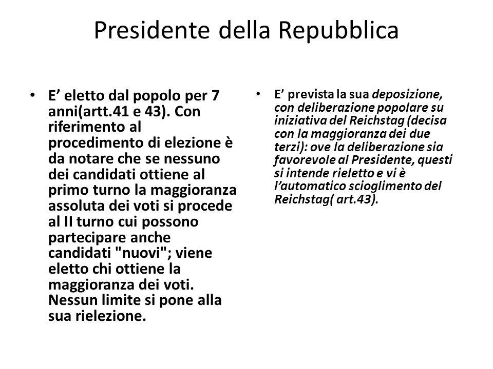 Presidente della Repubblica E eletto dal popolo per 7 anni(artt.41 e 43).